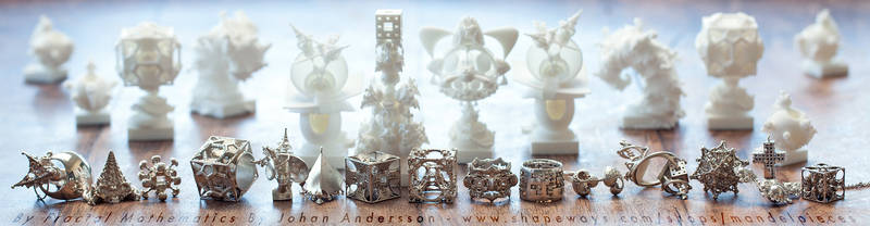 Surreal 3D printed Fractal Jewelry and Accessories