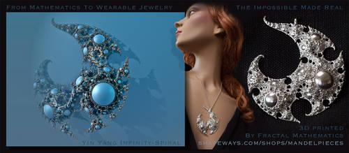3D printed Fractal Jewelry Yin Yang InfinitySpiral
