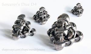 Sorcerer's Dice D4 - 3D printed in Steel by MANDELWERK