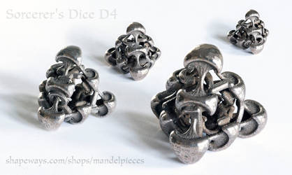 Sorcerer's Dice D4 - 3D printed in Steel