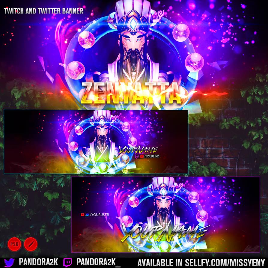 OVERWATCH ZENYATTA - Twitter Twitch Banner Pack by MissYeny