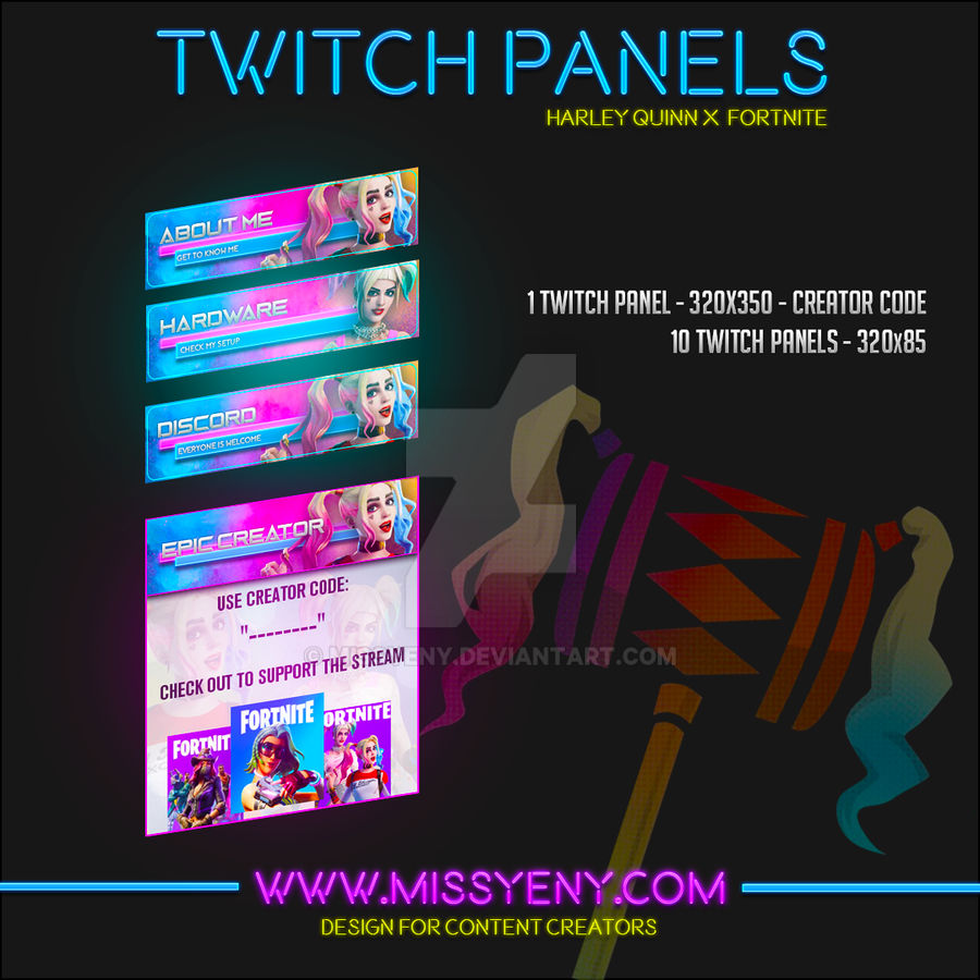 Twitch Panels Harley Quinn X Fortnite By Missyeny On Deviantart The fortnite & twitch creators' challenge will run from november 16 until november 22 and will be limited to the first 500,000 participants. deviantart