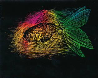 rainbowed fish scratchart by firemagic