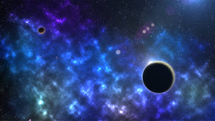 Blue Galaxy with Planets