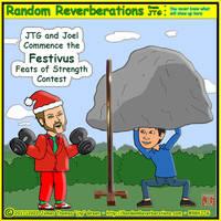 Cartoon JTG and Cartoon Joel celebrate Festivus