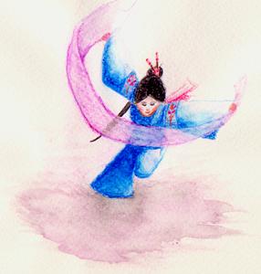 Watercolour girl by Lumarie
