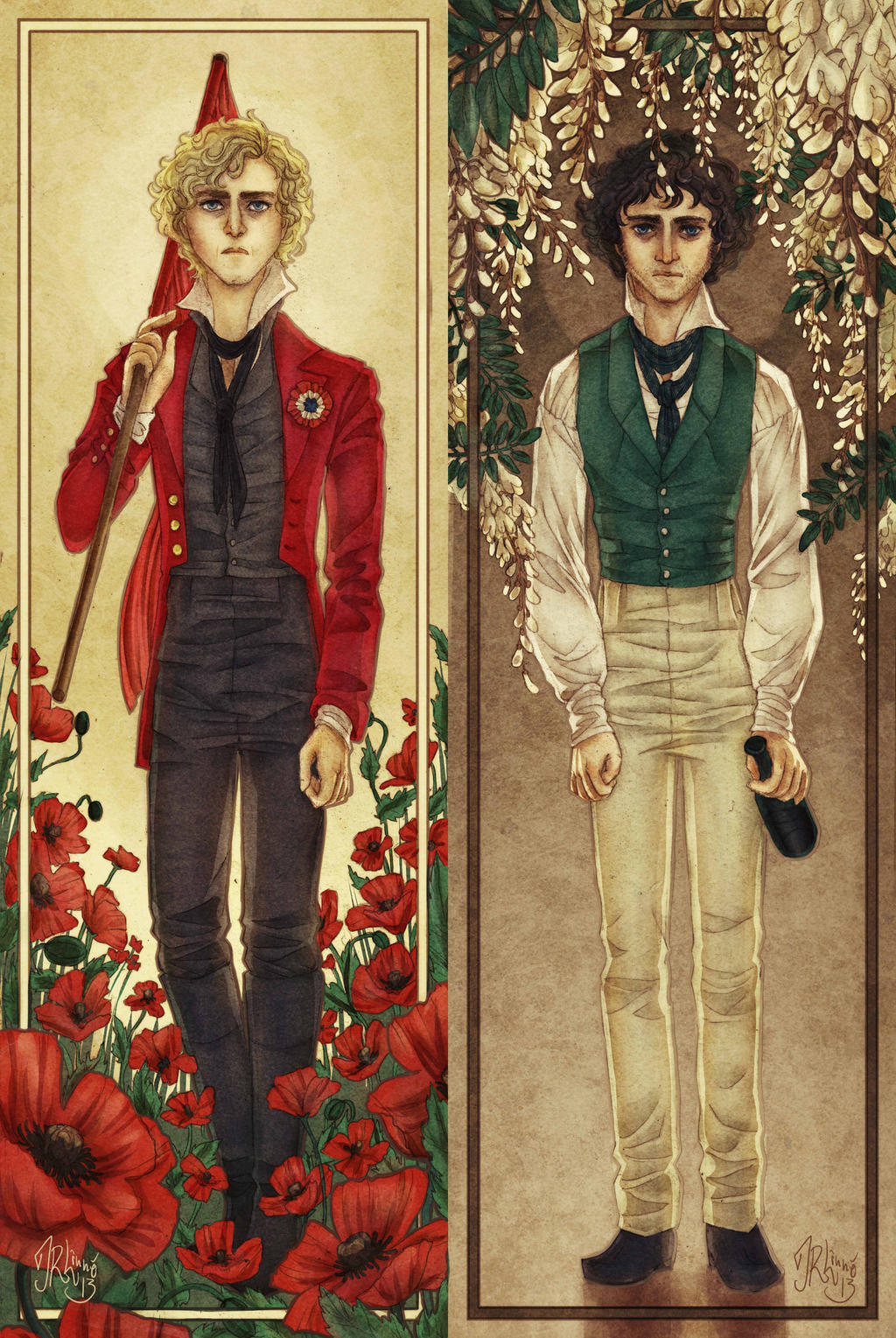 Enjolras, Grantaire by miryah