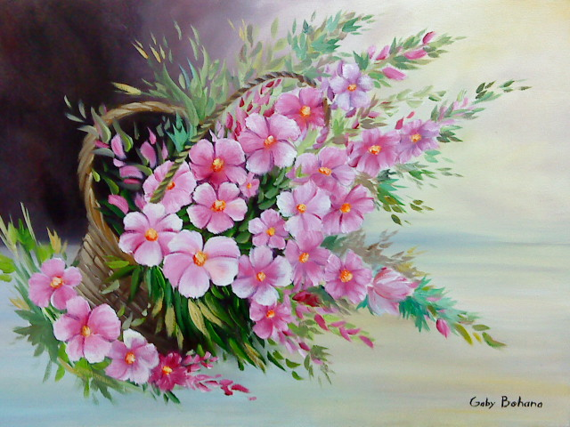 oil painting pink flower - photo #34