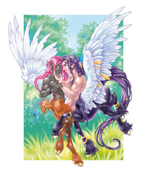 Pegasuskentaur and his Faun lover