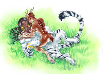 White Indian Tiger Sphinx and Axis Deer Faun by ConnyChiwa