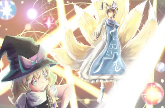Marisa Kirisame and Ran Yakumo by AimlessDesire
