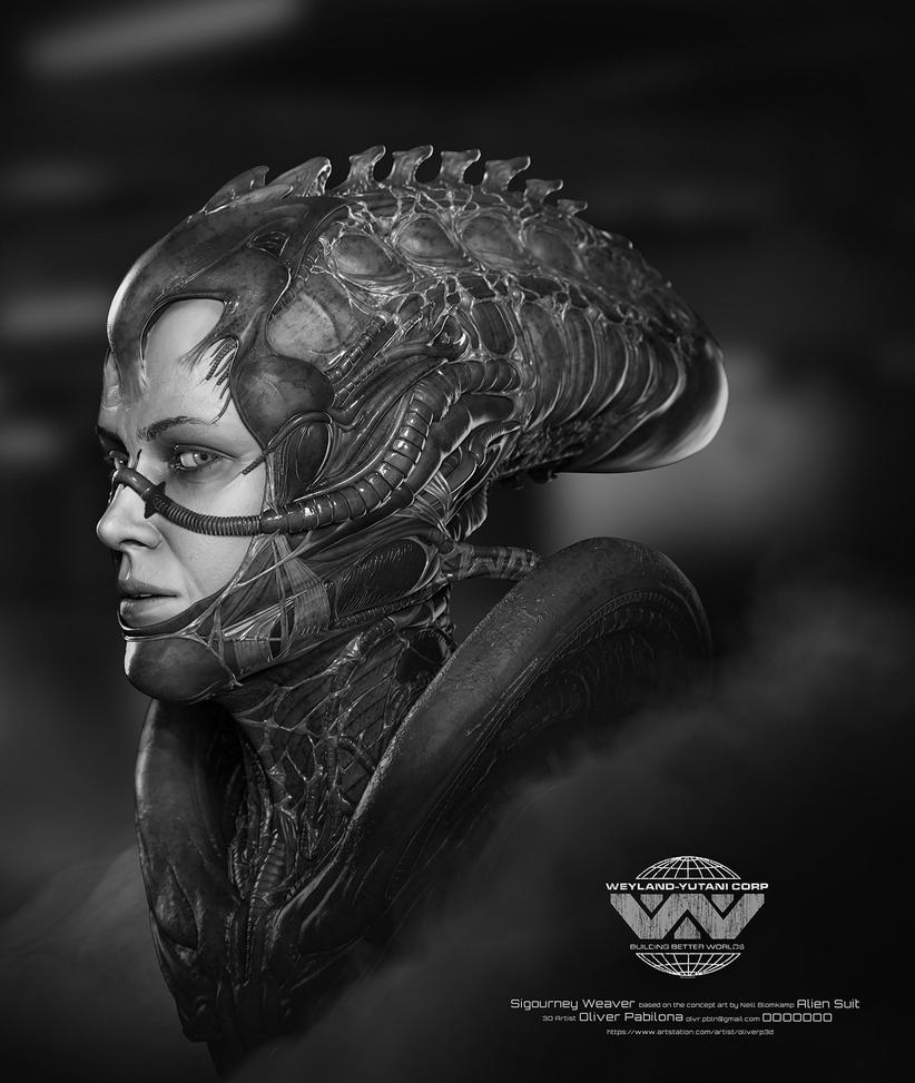 sigourney weaver alien suit illustration by rhythem02