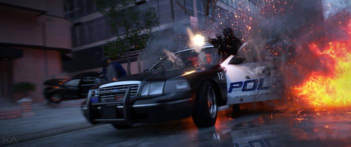 Street Shootout (3440x1440) by KindredArts