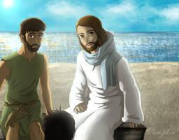 Jesus Reinstates Peter by Vanzkie