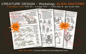 Creature Design Workshop 4 pg PDF  Part 01 by MIKECORRIERO
