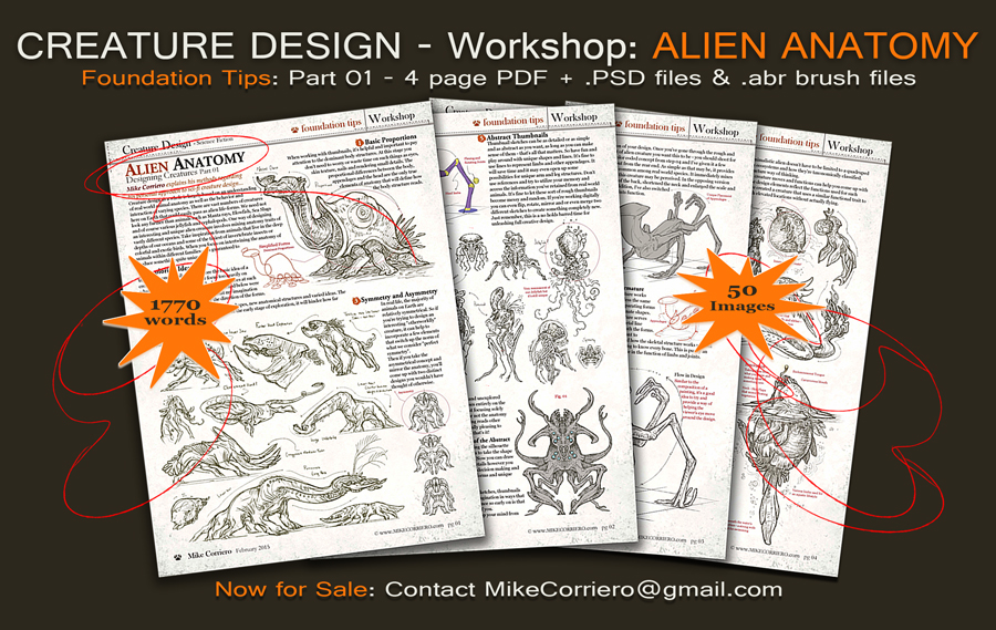 Creature Design Workshop 4 pg PDF  Part 01 by MIKECORRIERO