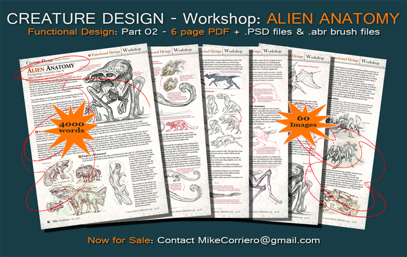 Creature Design Workshop: Alien Anatomy Part 02 by MIKECORRIERO
