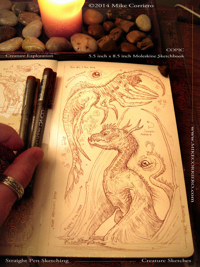 Sepia Toned Sketches - Creatures by MIKECORRIERO