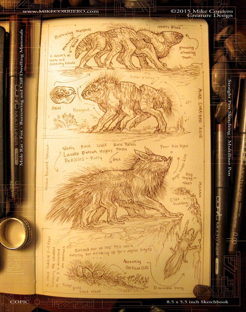 Sepia Tones pen Creature Sketches by MIKECORRIERO