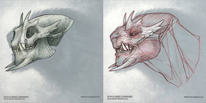 Snarling Beast Skull and Musculature