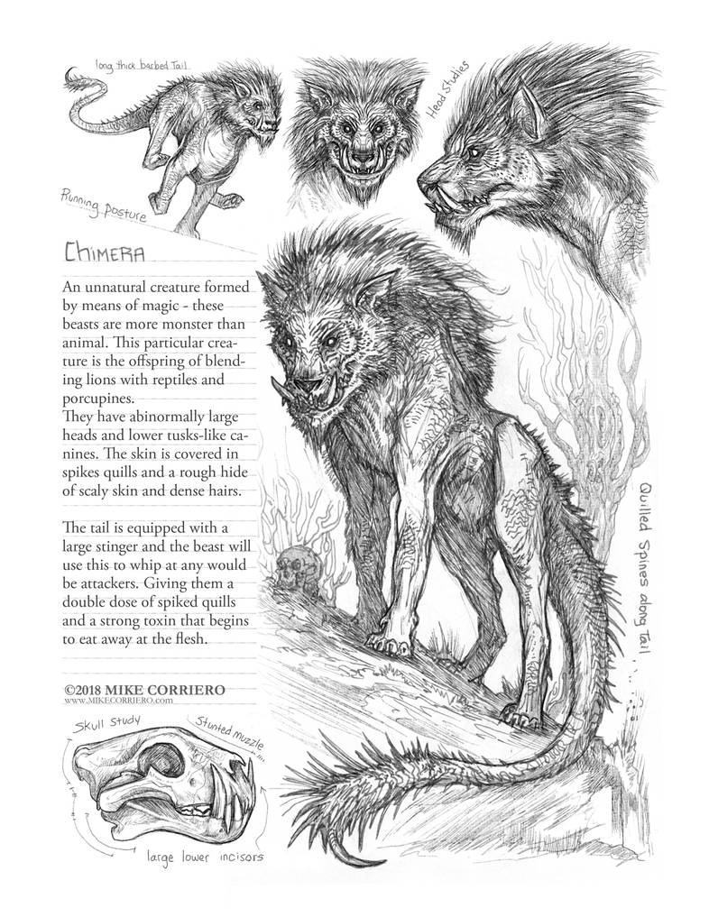 Creature Sketch Page Manticore/Chimera by MIKECORRIERO