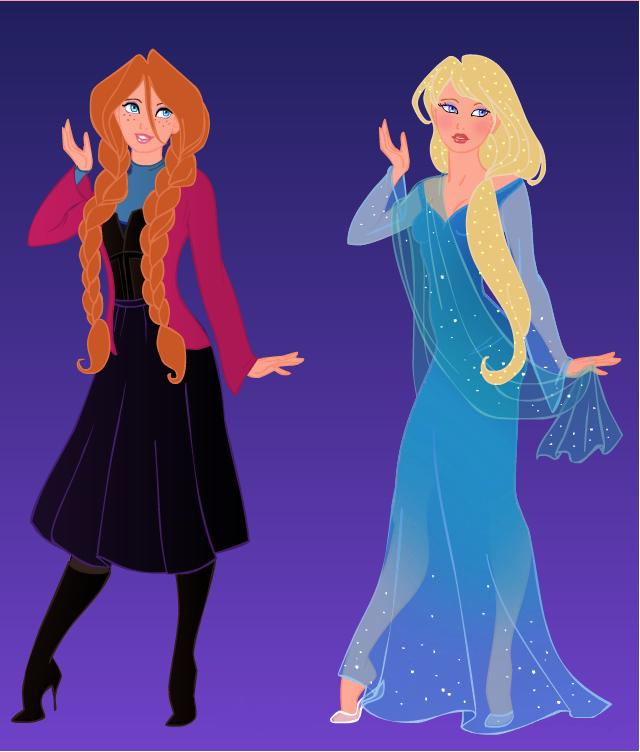 Anna and elsa modern by indygirl89 on deviantart