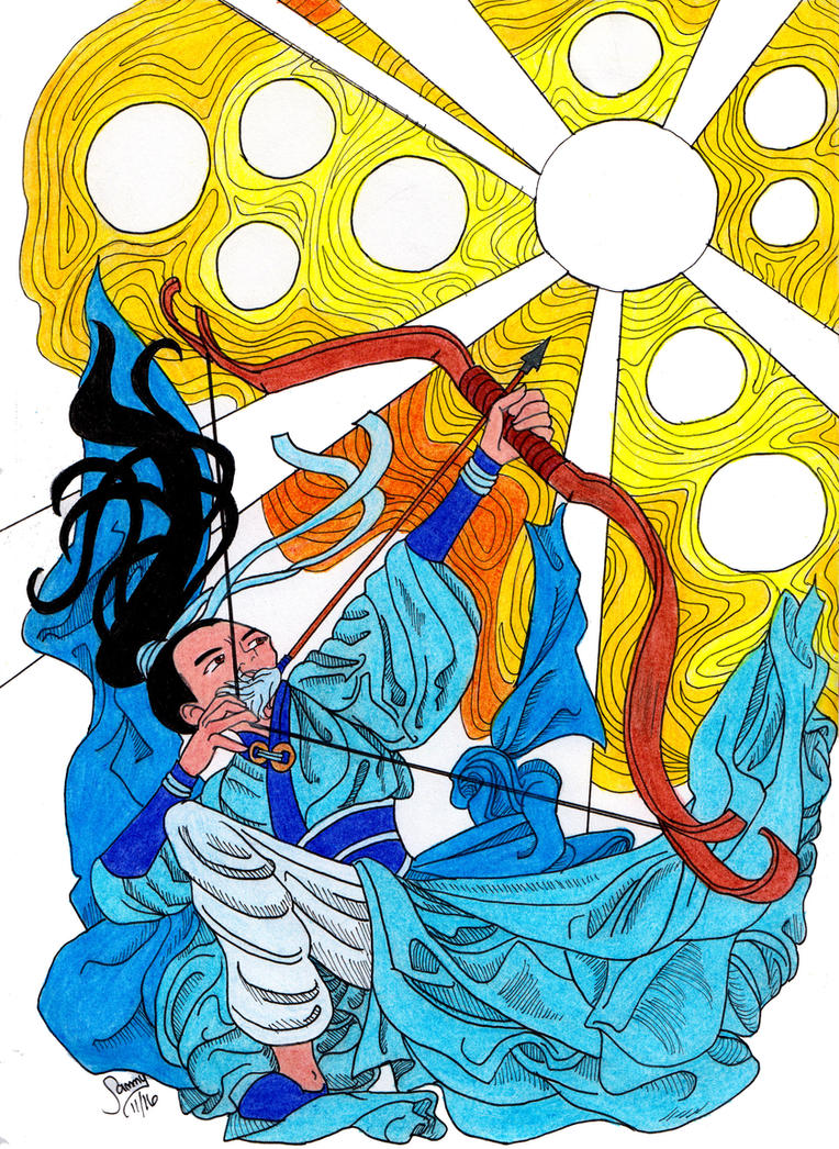 Yi the Archer vs the 10 suns by Leaf-nin