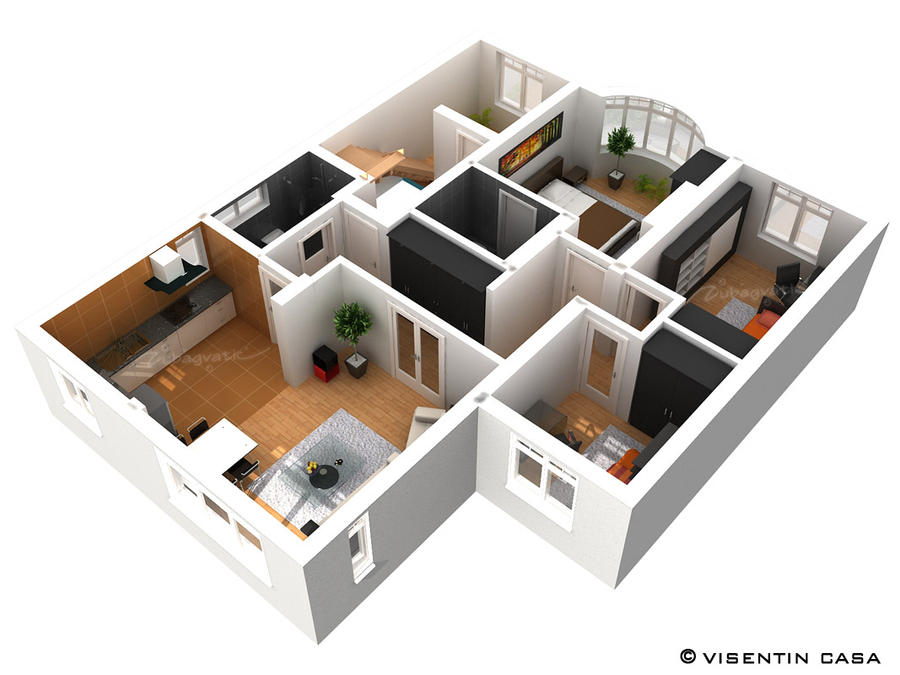 3d plan render by zubagvatic on deviantart for Plan rendering ideas