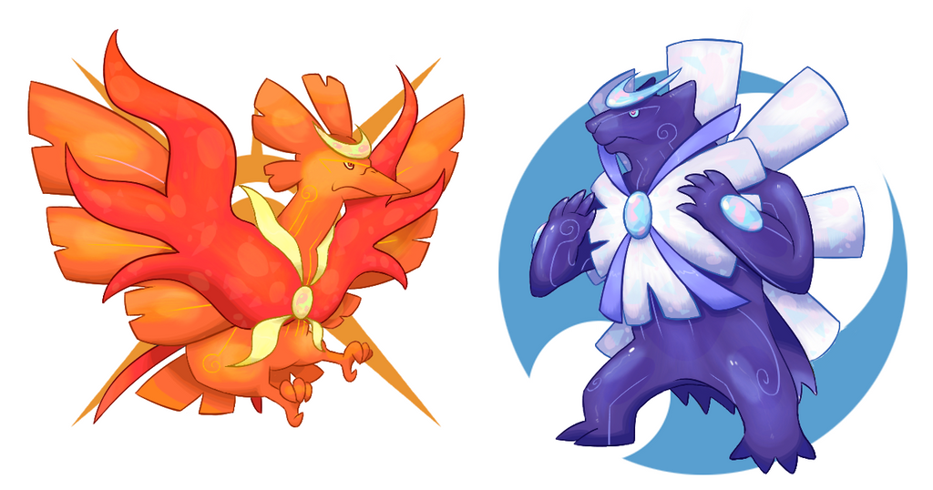 Unused Legendary Fakemon Deseonix and Polursa by Faketops
