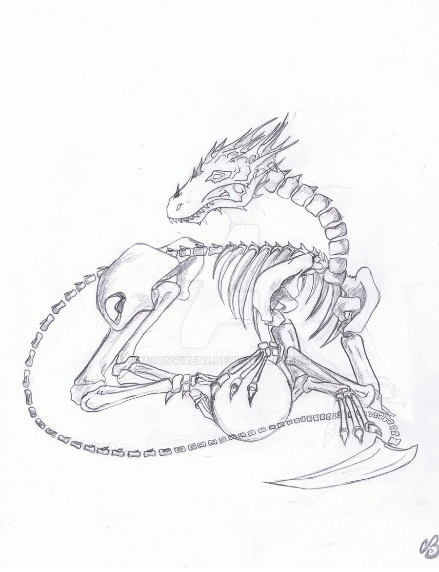 skeleton dragon tat design by moonvixen8 on deviantart. Black Bedroom Furniture Sets. Home Design Ideas