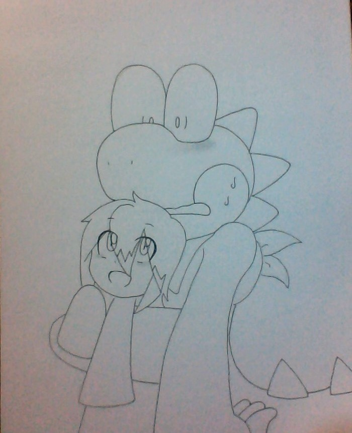 me and my boyfriend in yoshi island style XD by grismay