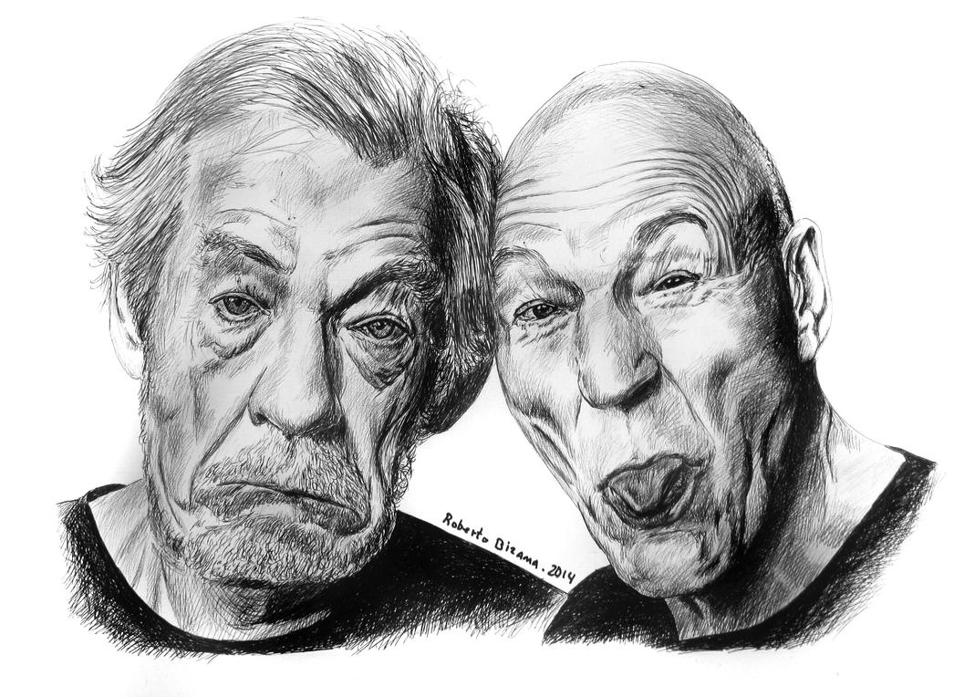 -Ian McKellen,,Patrick Steward by RobertoBizama