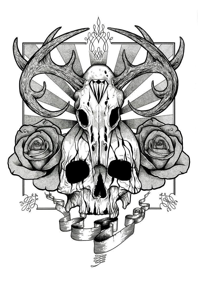 skull and roses tattoo design by aaronkingillustrator on deviantart. Black Bedroom Furniture Sets. Home Design Ideas