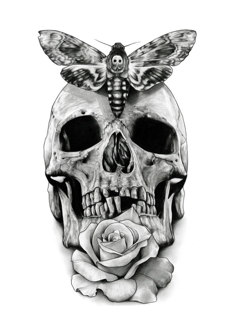 Skull Tattoo design drawing by AaronKingIllustrator