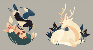 Magpie and Deer