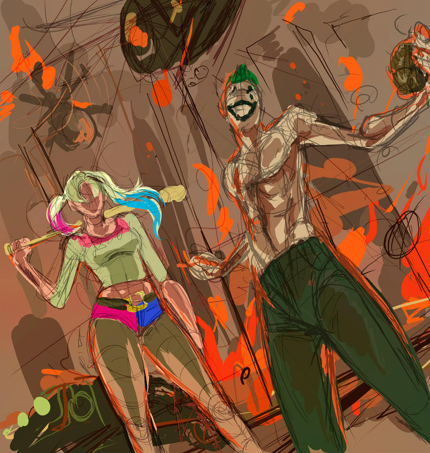 Harley Quinn Joker boom wip) by ymymy