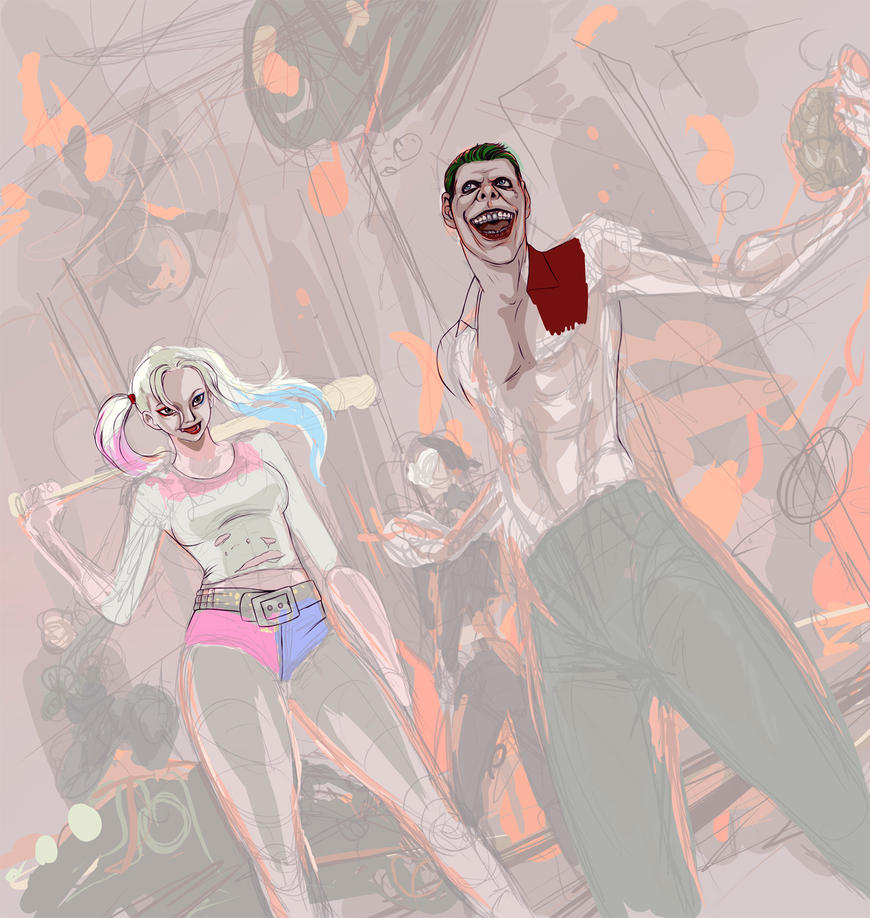 Harley Quinn Joker boom wip2) by ymymy
