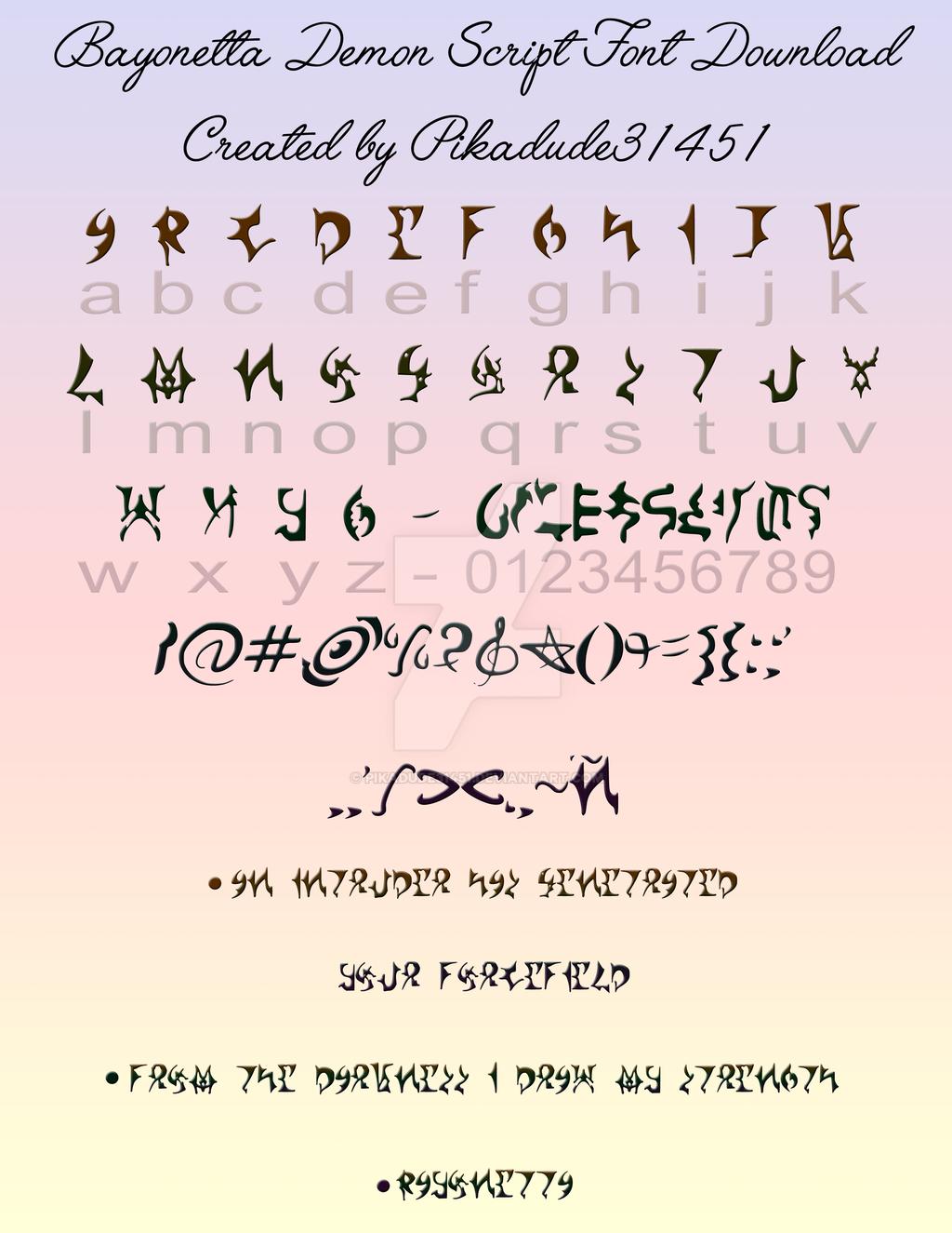 Bayonetta demon script font download by pikadude31451 on Script art