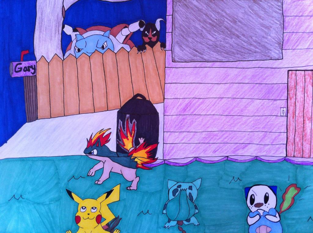 Pokemon Suburbia: Gary's Lawn by VashandNaomiForever