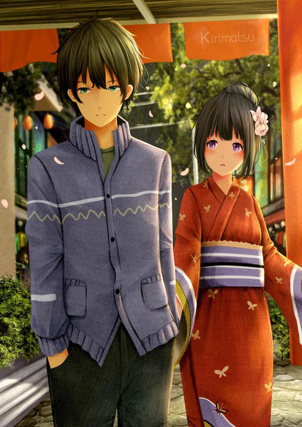 Oreki Hotarou x Chitanda Eru on festival by kirimatsu