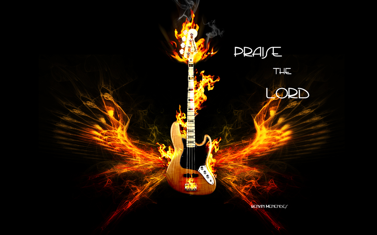 electric guitar art wallpaper fire - photo #11