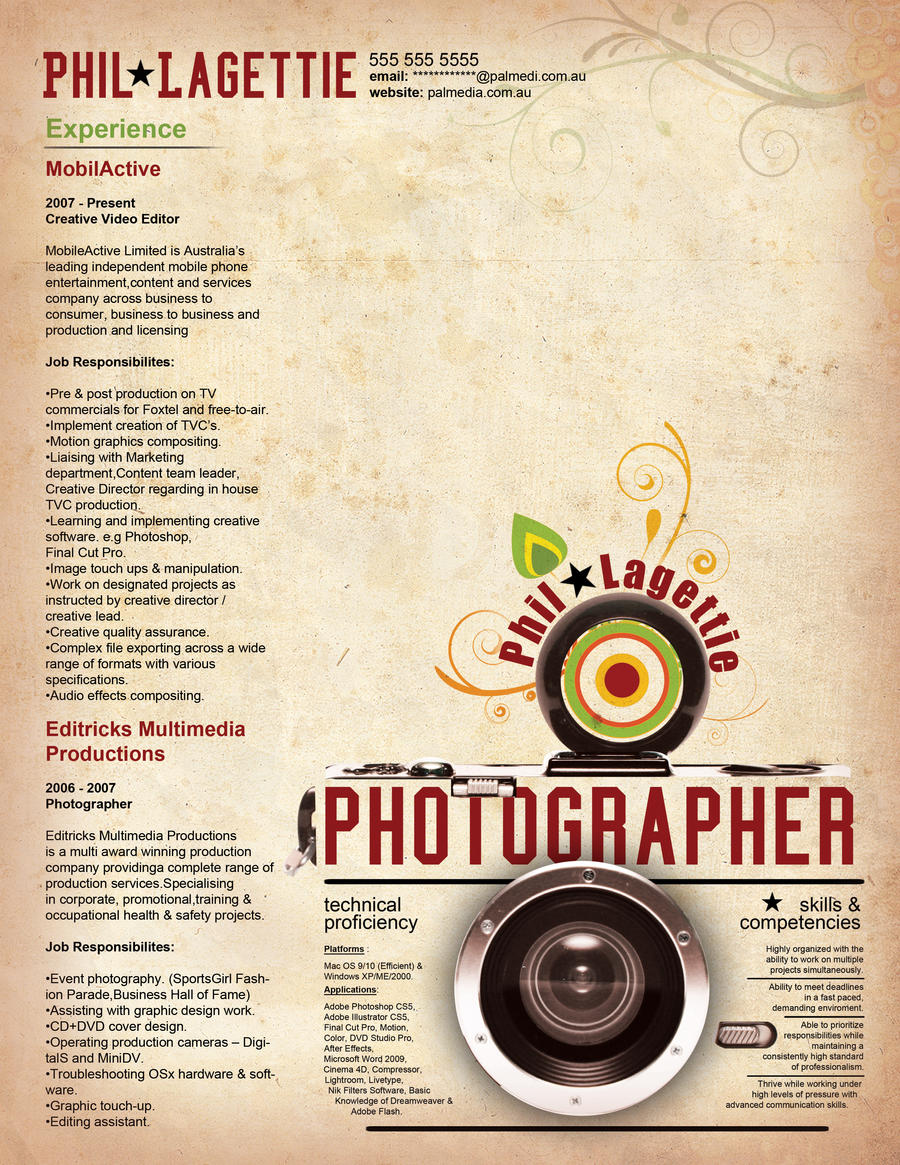 resume for photographer 3357