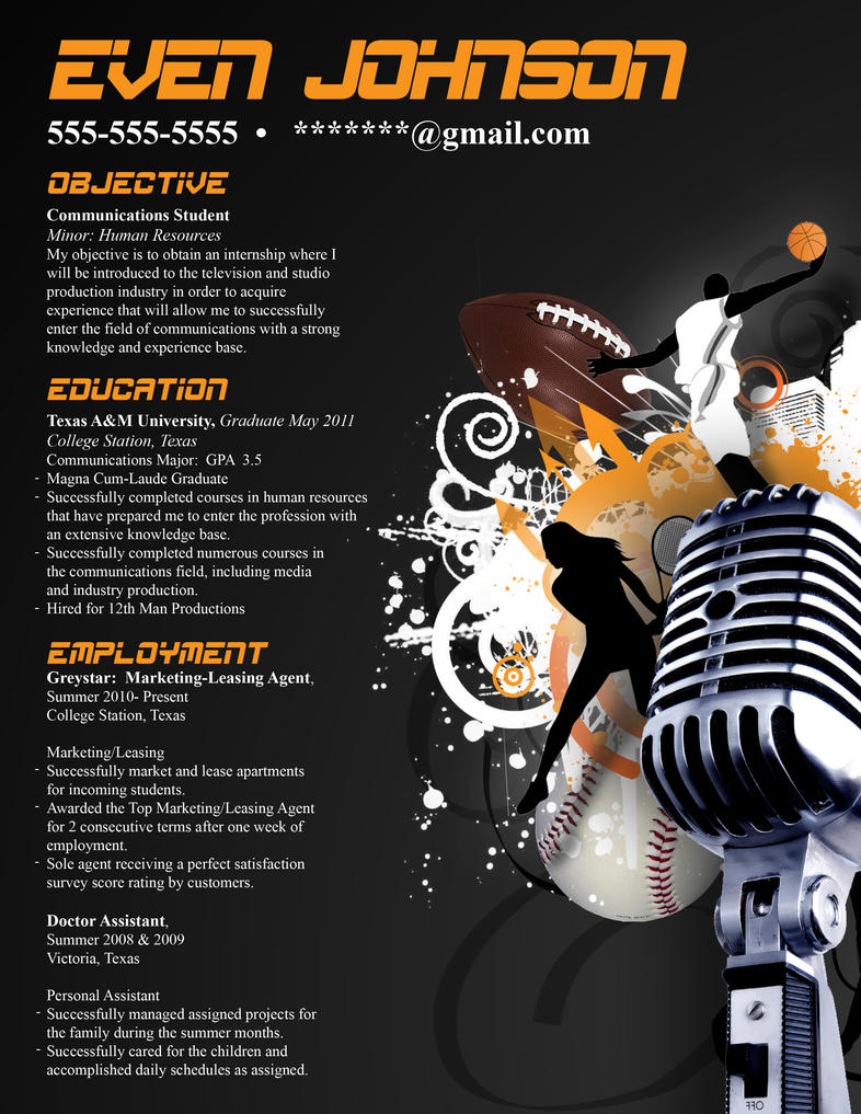 Resume Sports Broadcasting By Orangeresume On Deviantart