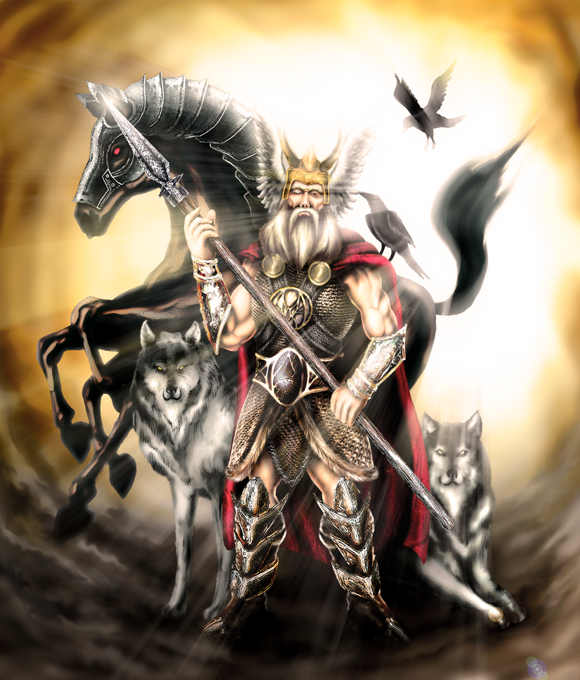 Odin and his friends by ronydraw