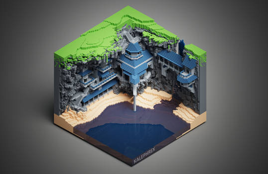 Cliffside Monastery Voxelart