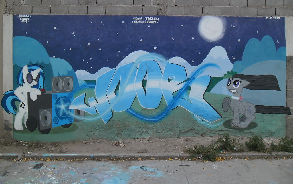 Vinyl Scratch and Octavia Graffiti by ShinodaGE