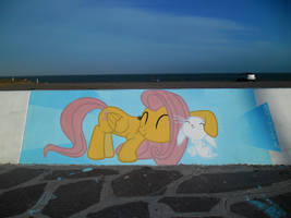 Fluttershy and Angel Graffiti by ShinodaGE