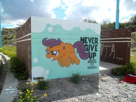 Never Give Up Scootaloo Graffiti by ShinodaGE