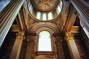 Imposing interior of a church with great light. by oanaunciuleanu
