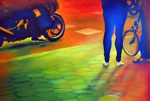 Riding along, 2014, 120-80cm, oil on canvas by oanaunciuleanu